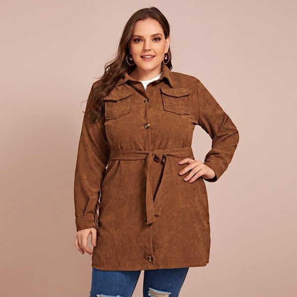 Plus Button Through Self Tie Corduroy Coat, Brown