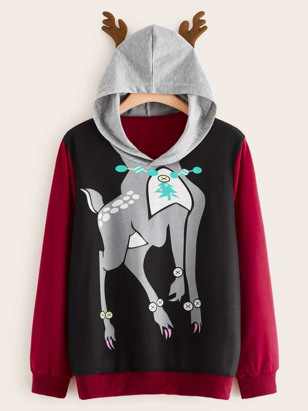 Plus Contrast Panel Christmas Cartoon Graphic Hoodie, Multicolor