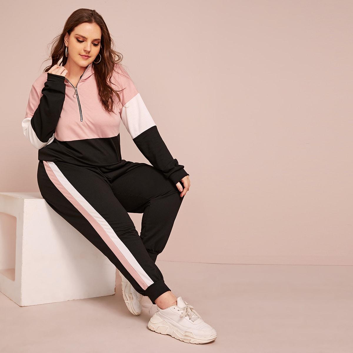 Контрастная толстовка на молнии и спортивные брюки размера плюс от SHEIN