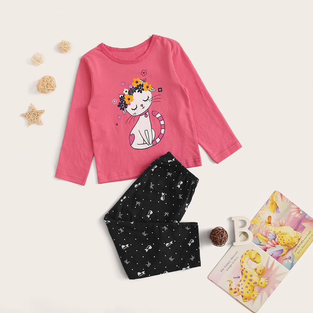 Пижама с мультяшным принтом для девочек от SHEIN
