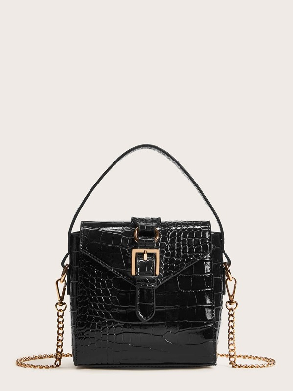 Buckle Decor Satchel Bag With Chain, Black