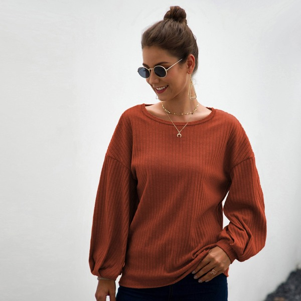 Solid Ribbed Knit Round Neck Sweater