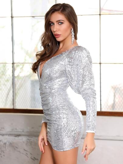 SheIn / DKRX Deep V Neck Ruched Gigot Sleeve Sequin Bodycon Dress