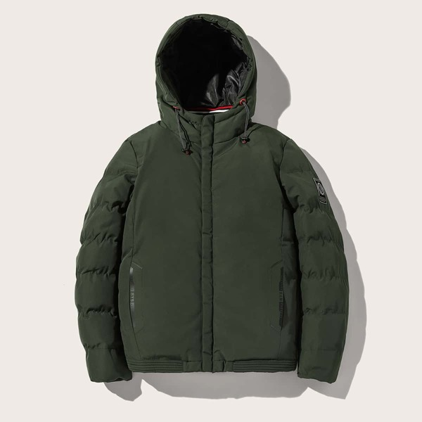 Men Drawstring Hooded Puffer Coat, Army green