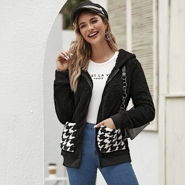 Zip Up Houndstooth Pocket Hooded Teddy Jacket, Black