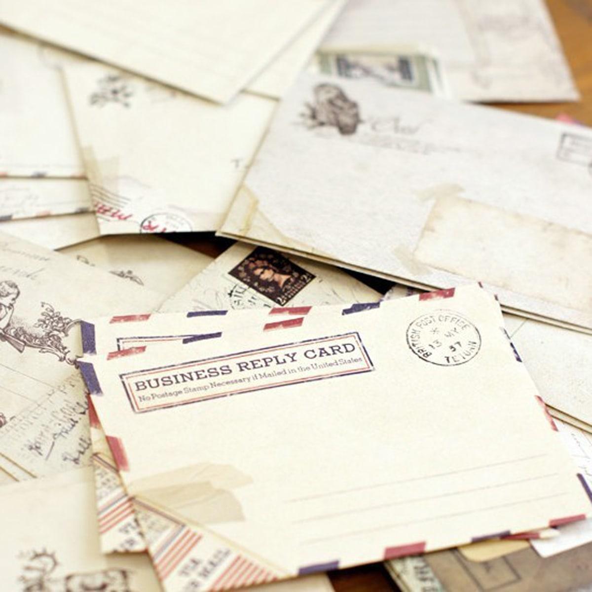 12 vellen envelop met vintage dierenprint