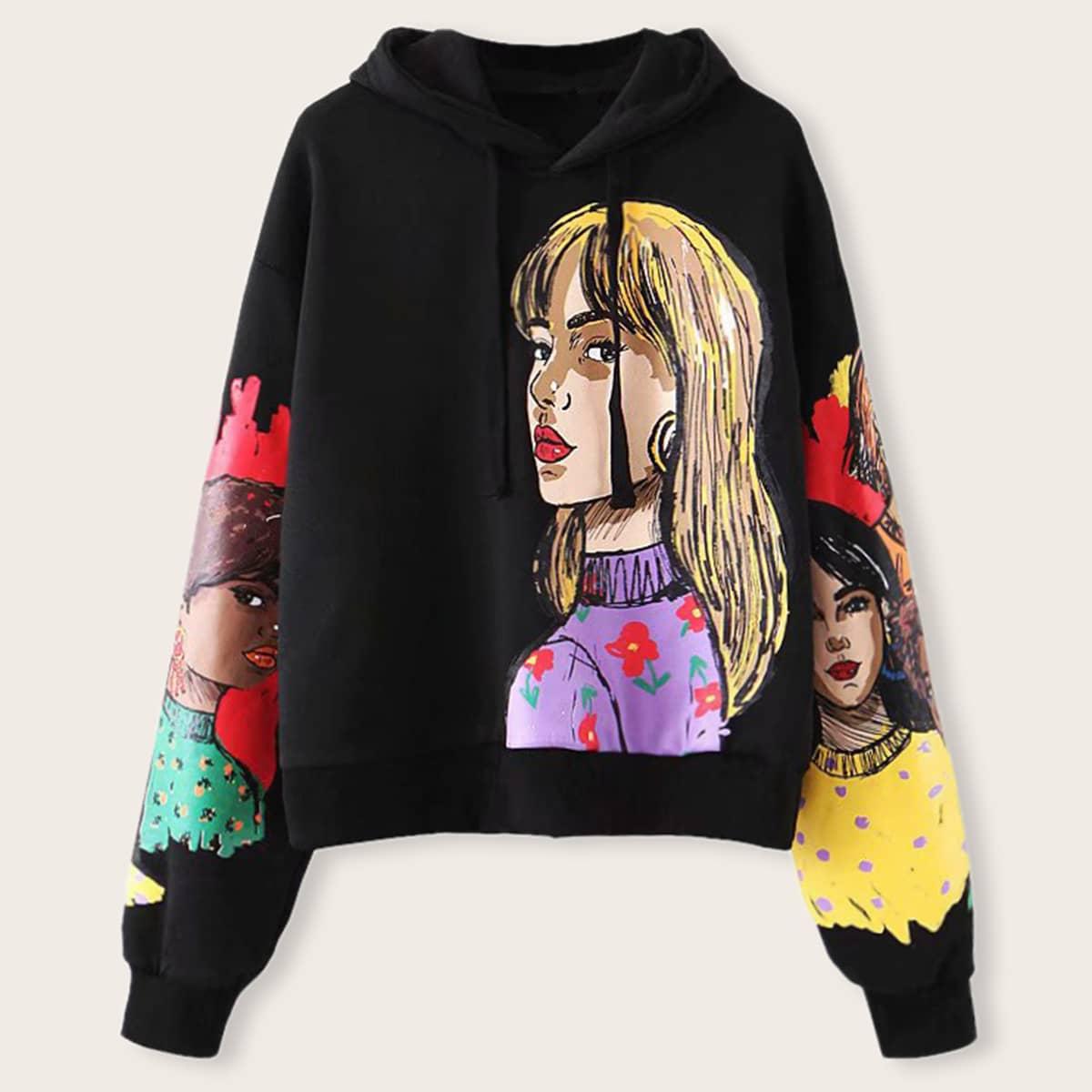 SHEIN / Schwarz Ziehbändchen Zahlen  Lässig Sweatshirts