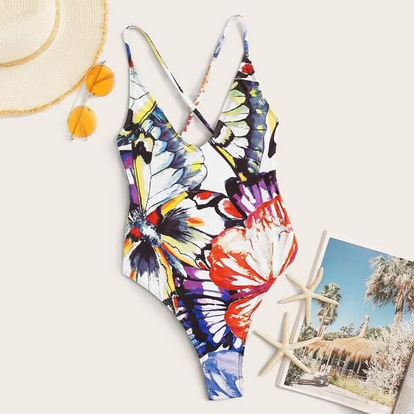 Butterfly Random Print One Piece Swimwear, Multicolor