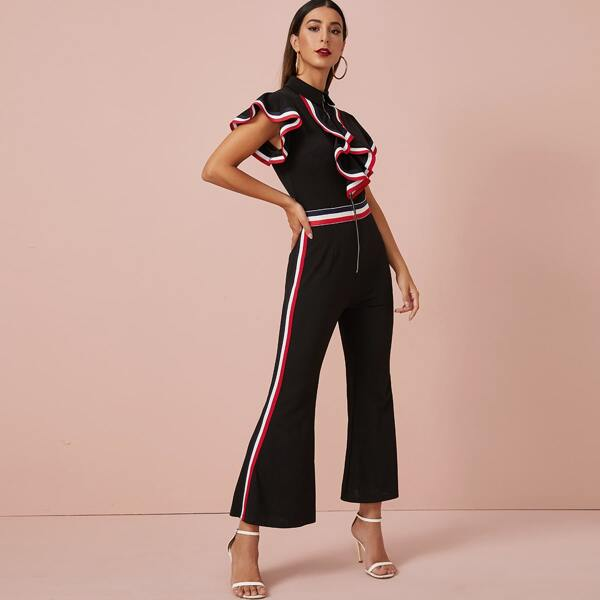 Zip Up Ruffle Trim Striped Tape Flare Leg Jumpsuit, Black