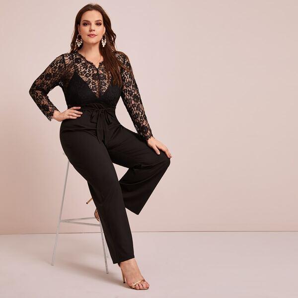 Plus Contrast Lace Self Tie Jumpsuit, Black
