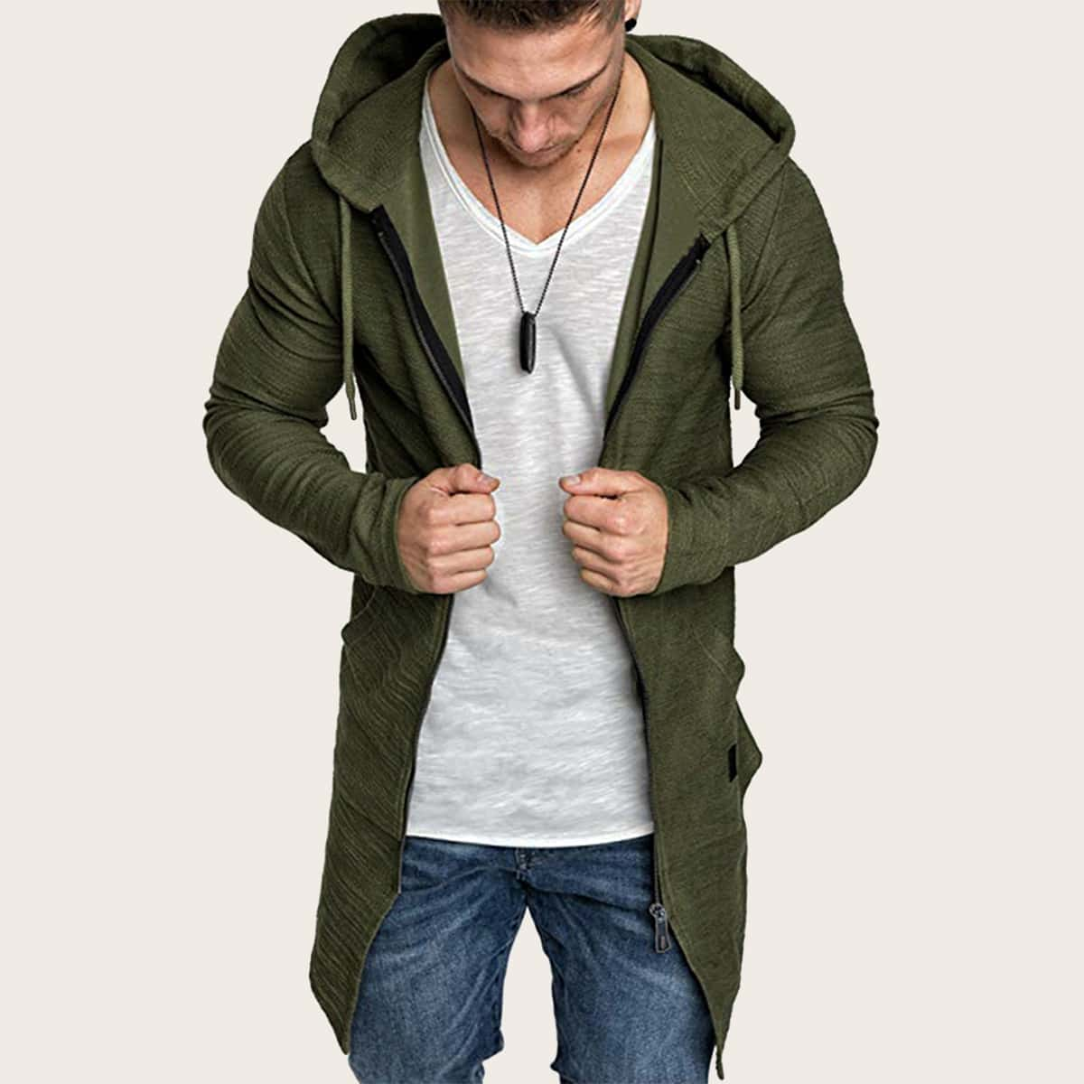Leger groen Casual Rits Vlak Sweatshirts voor heren