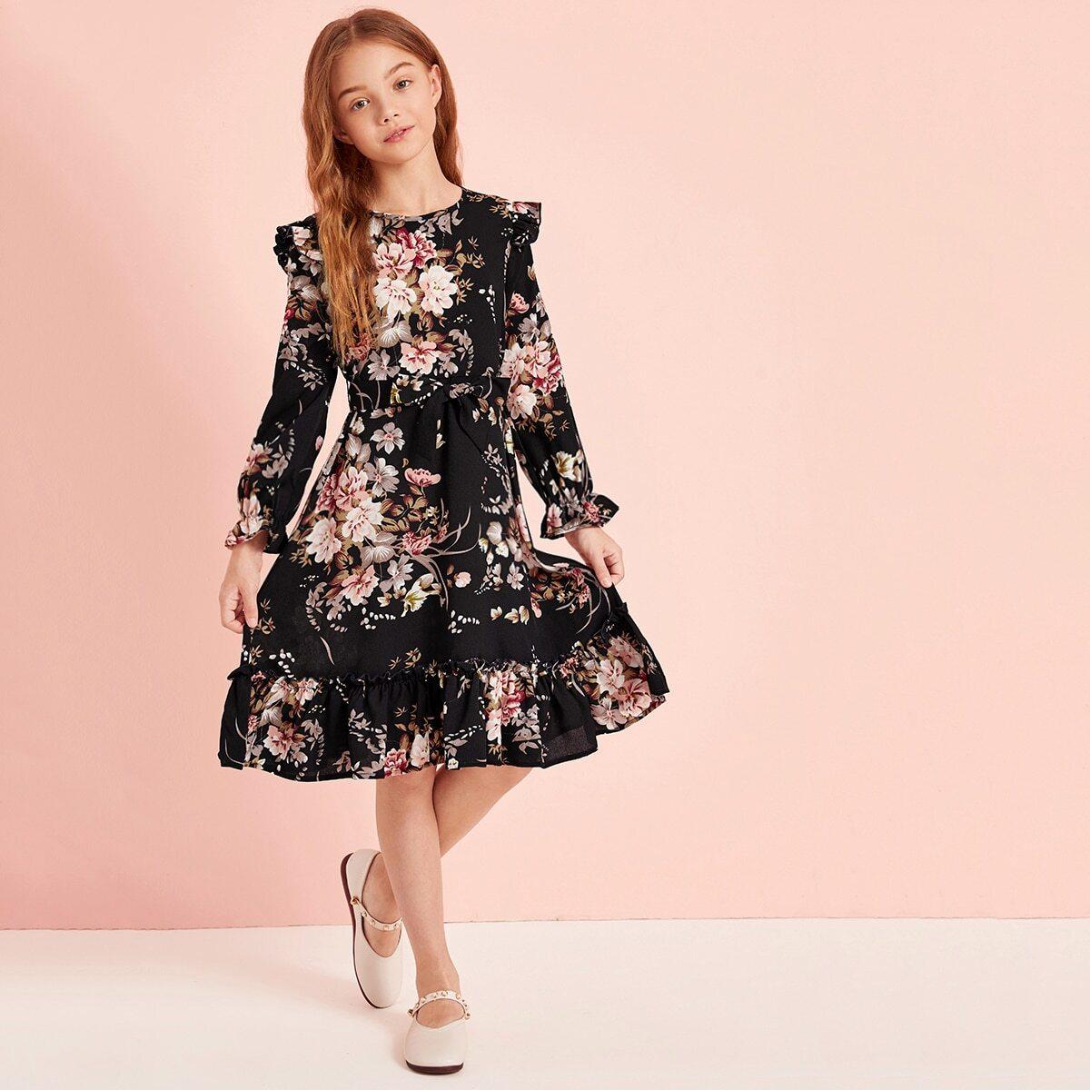 Платье с цветочным принтом и поясом для девочек от SHEIN