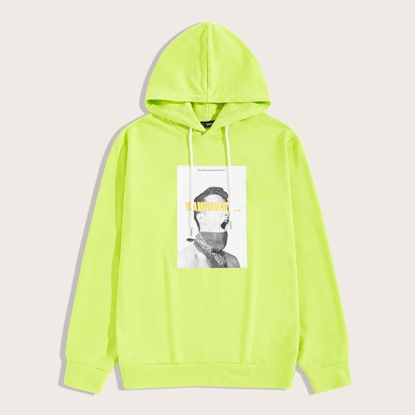 Men Neon Lime Figure Graphic Hoodie, Green bright