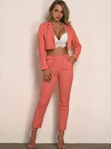 Buckle   Orange   Blazer   Neon   Belt   Pant   Set
