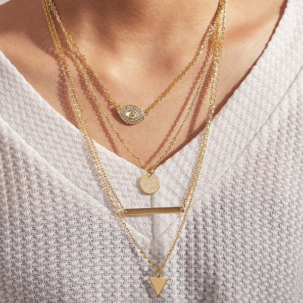 1pc Rhinestone Decor Coin & Triangle Charm Layered Necklace, Gold