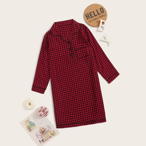 Girls Gingham Button Front Night Dress, Red