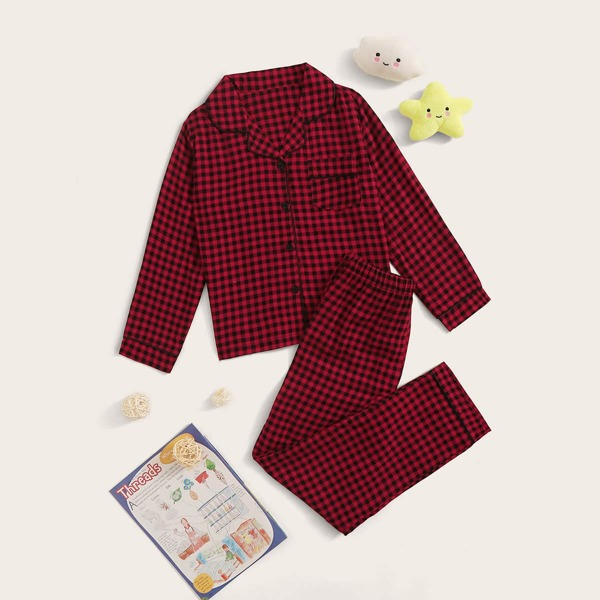 Girls Gingham Button-up PJ Set, Red