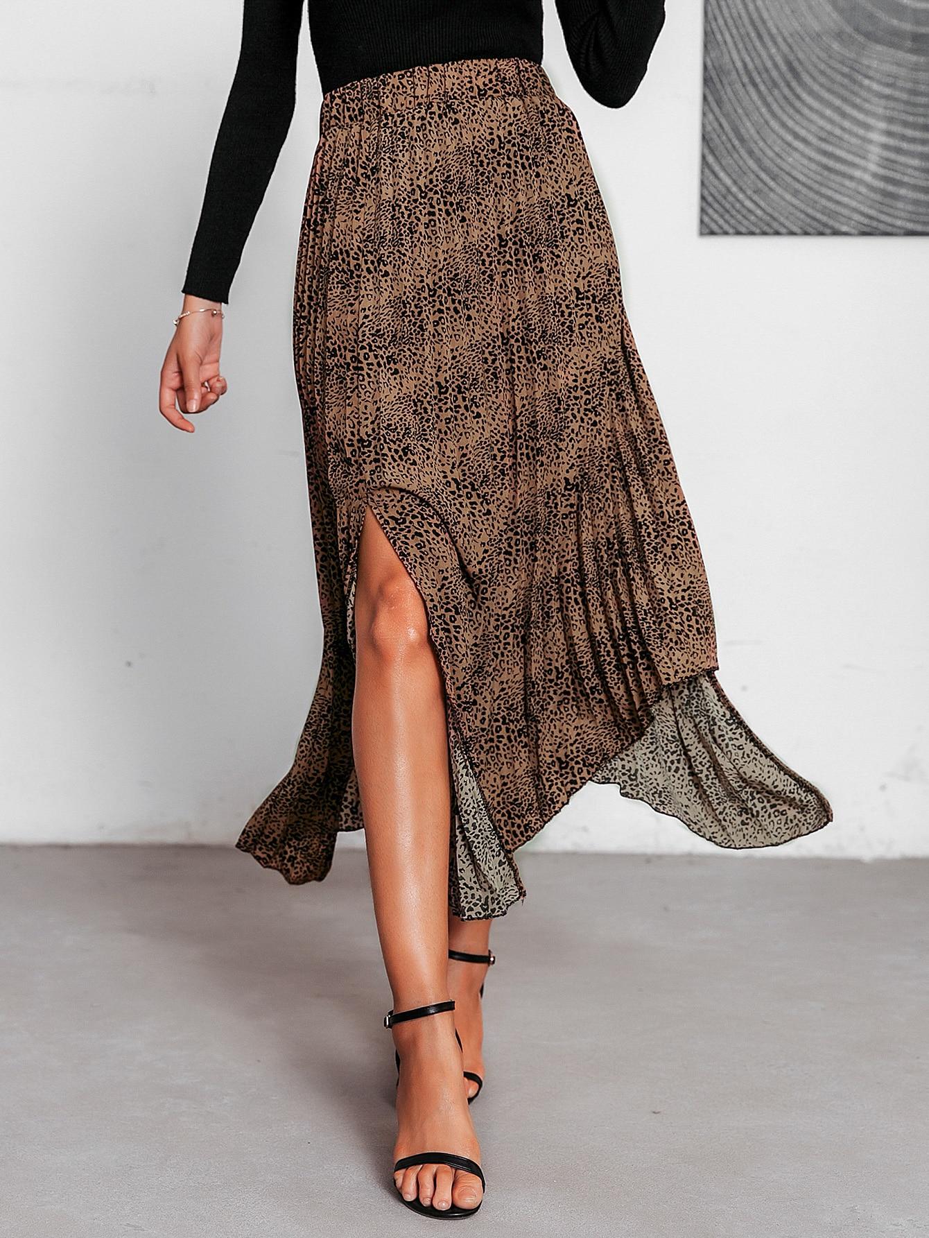 Simplee асимметричная плиссированная юбка с леопардовым принтом