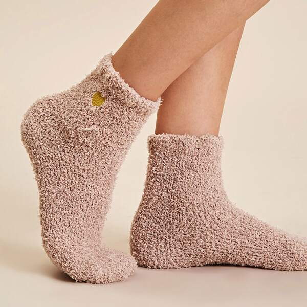 1pair Heart Embroidery Fluffy Socks, Pink