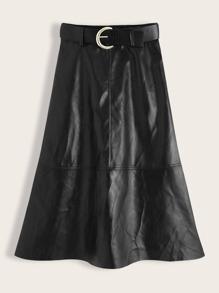Leather | Solid | Skirt | Belt