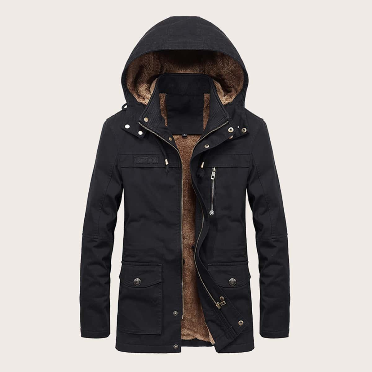 Men Sherpa Lined Zip-up Hooded Coat
