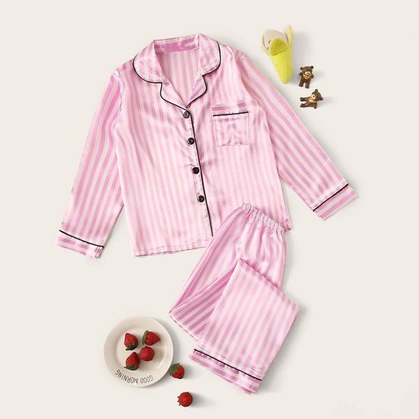 Girls Striped Button-up Satin PJ Set, Pink