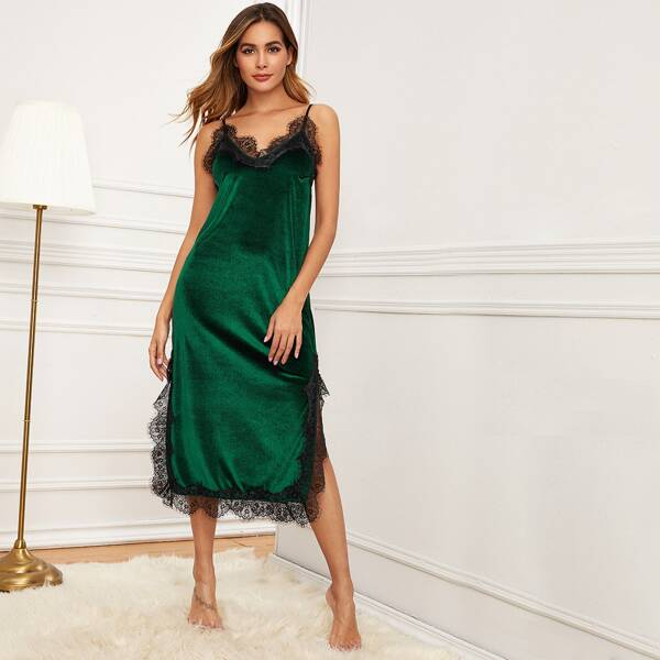 Lace Trim Split Side Cami Velvet Night Dress, Green