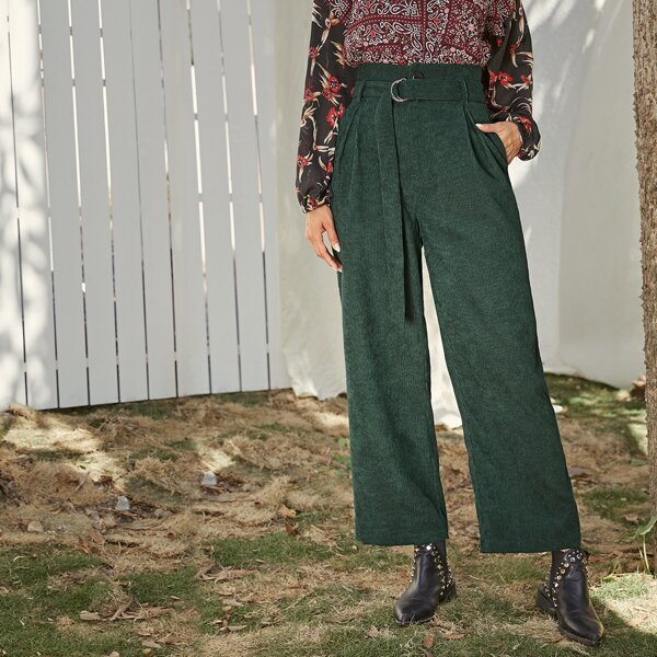 Solid Belted Wide Leg Corduroy Pants, Green