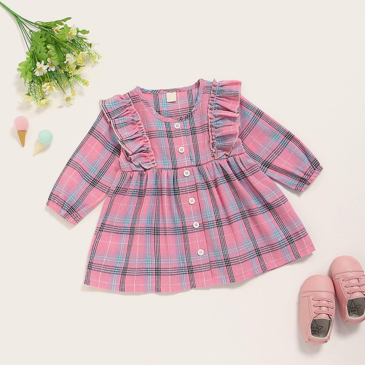 Платье-рубашка в клетку с оборками для девочек от SHEIN