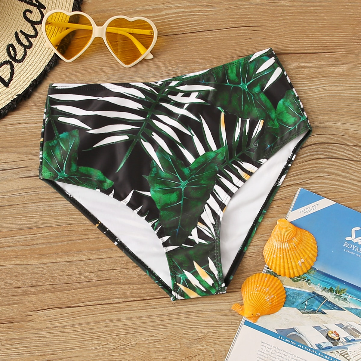 shein Bikini print met hoge taille en palmprint