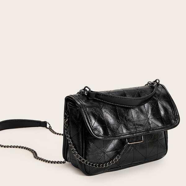 Stitch Detail Chain Tote Bag, Black