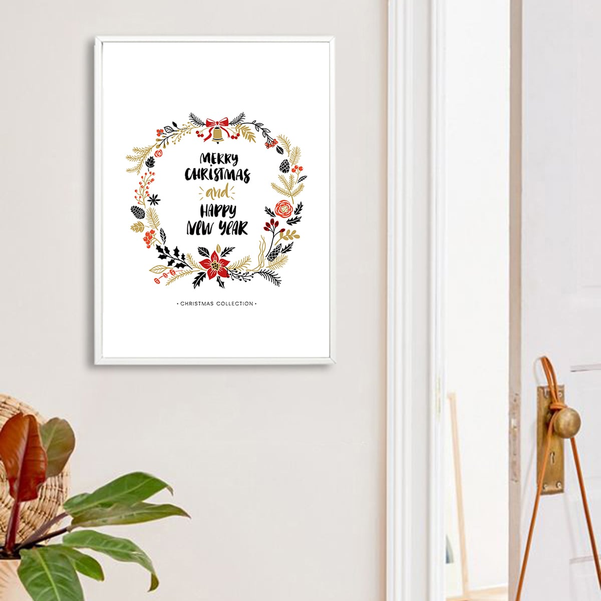 Christmas Slogan & Wreath Wall Print Without Frame