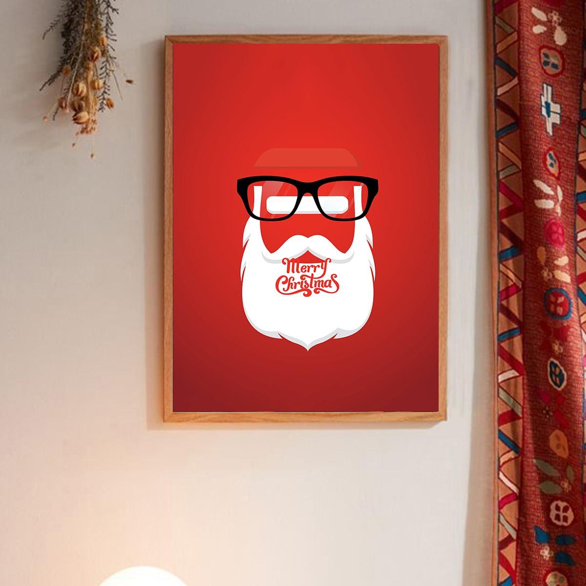 Abstracte kerstman muur afdrukken zonder frame
