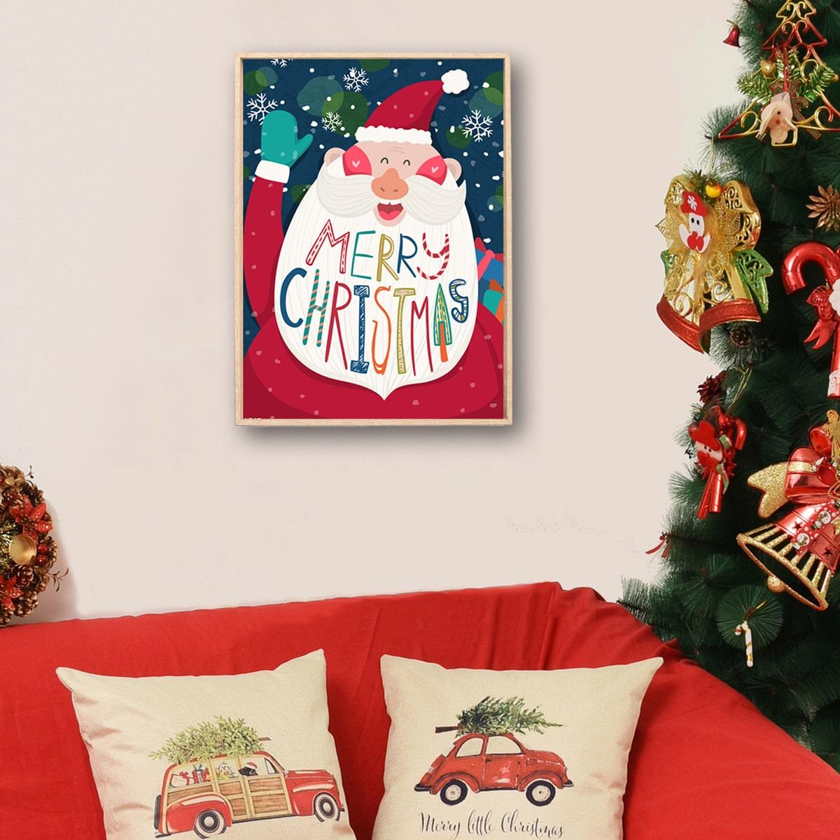 Leuke kerstman muurprint zonder lijst