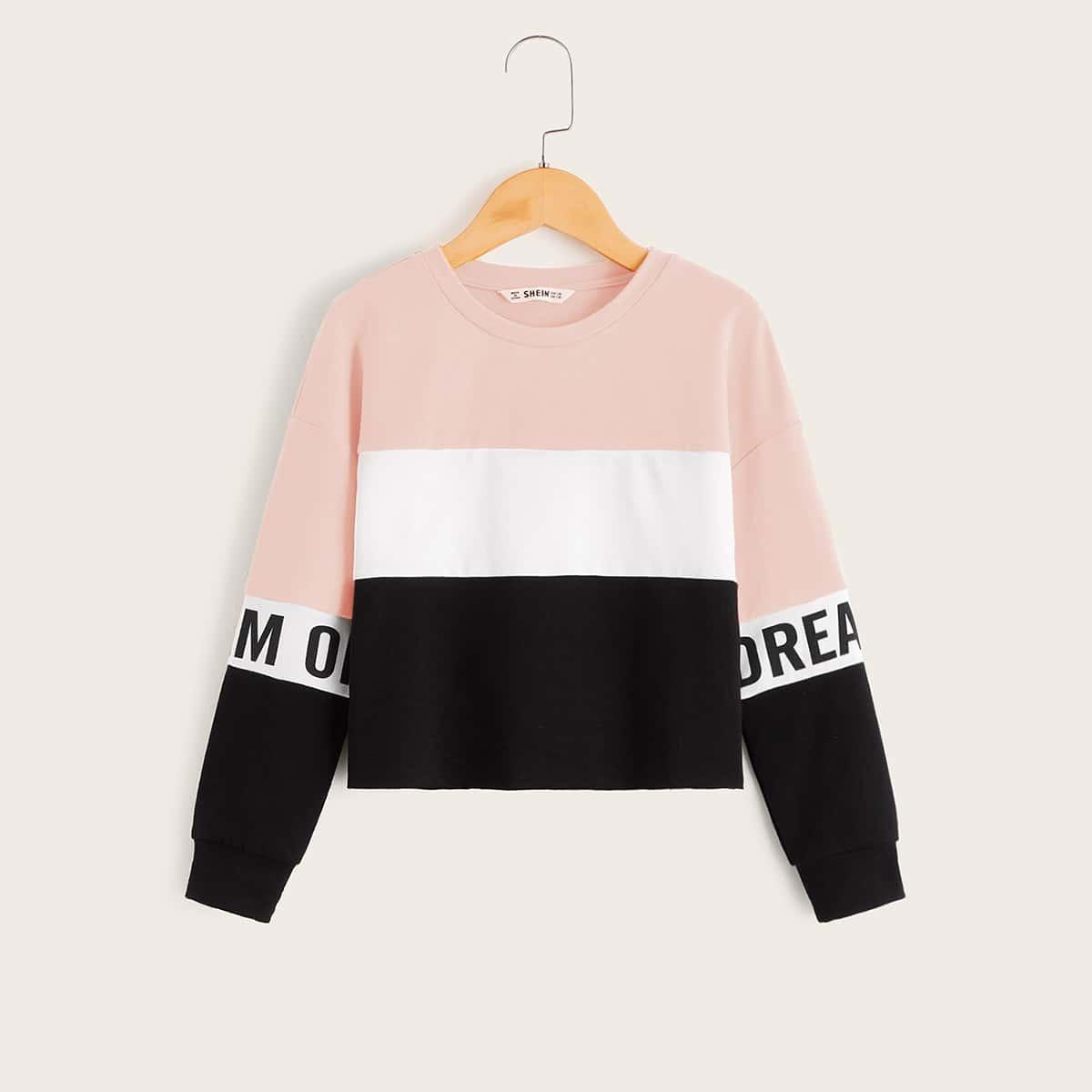 Контрастный пуловер с текстовым принтом для девочек от SHEIN