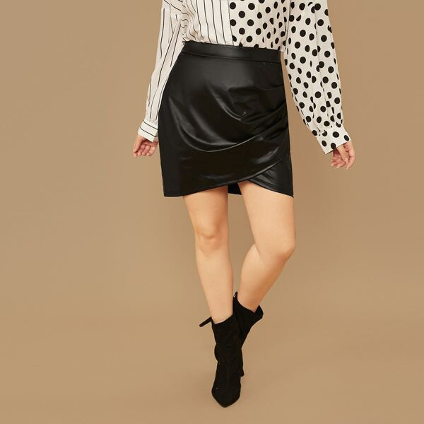 Plus Zipper Side Asymmetrical Hem PU Skirt, Black