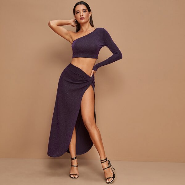 One Shoulder Glitter Crop Top & Wrap Skirt Set, Purple
