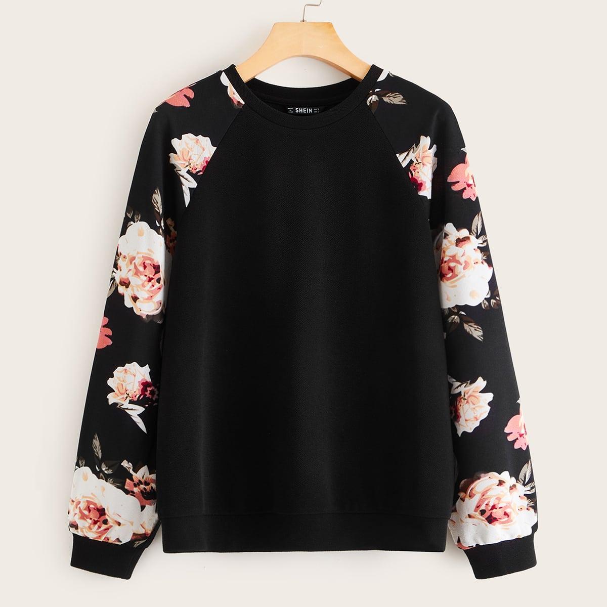 Пуловер с рукавом-регланом и цветочным принтом