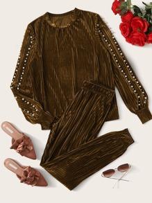 Sweatpant   Pullover   Velvet   Pearl   Bead   Set