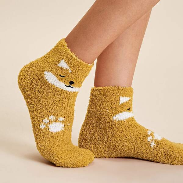 1pair Cartoon Graphic Carpet Socks, Yellow