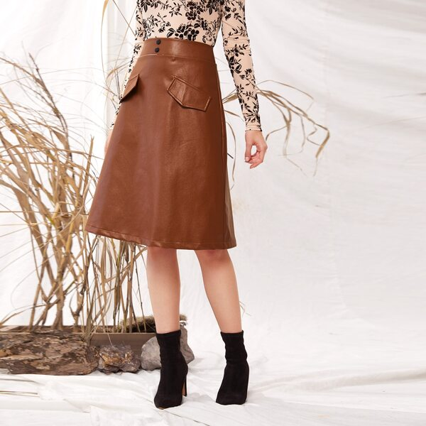 Button Front Fake Flap Pocket Faux Leather Skirt, Brown