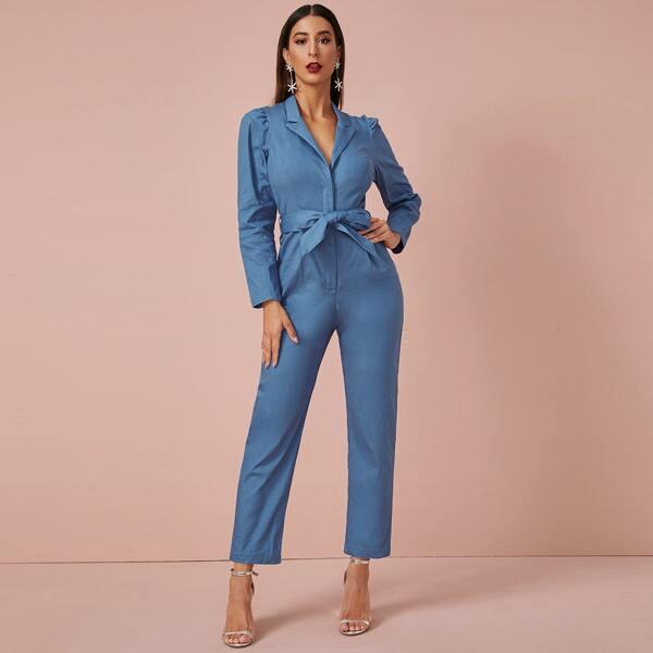 Solid Self Tie Puff Sleeve Jumpsuit, Blue
