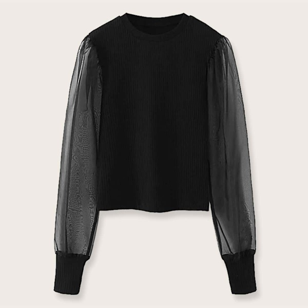 Mesh Panel Ribbed Knit Sweater