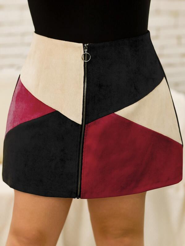 Plus Colorblock O-Ring Zip Through Corduroy Skirt