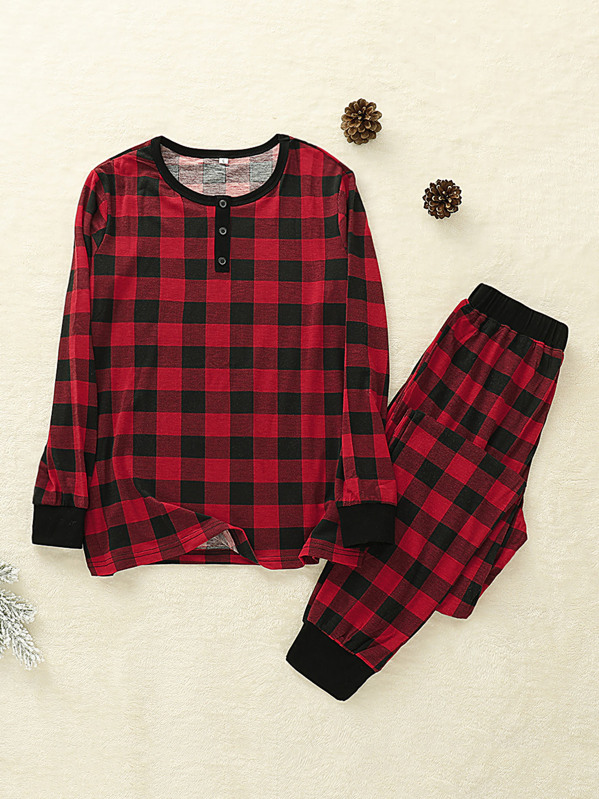 Contrast Binding Buffalo Plaid Tee With Pants, Red