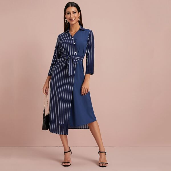 Self Tie Asymmetrical Hem Vertical Striped Shirt Dress, Navy