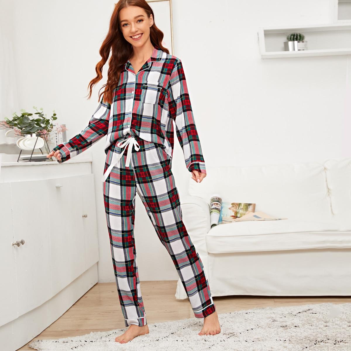 Клетчатая пижама на пуговицах от SHEIN