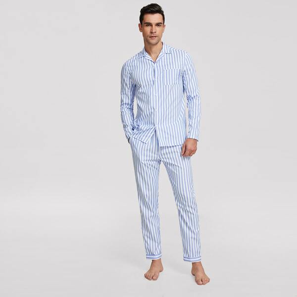 Men Revere Collar Pocket Patched Shirt and Pants PJ Set, Blue pastel