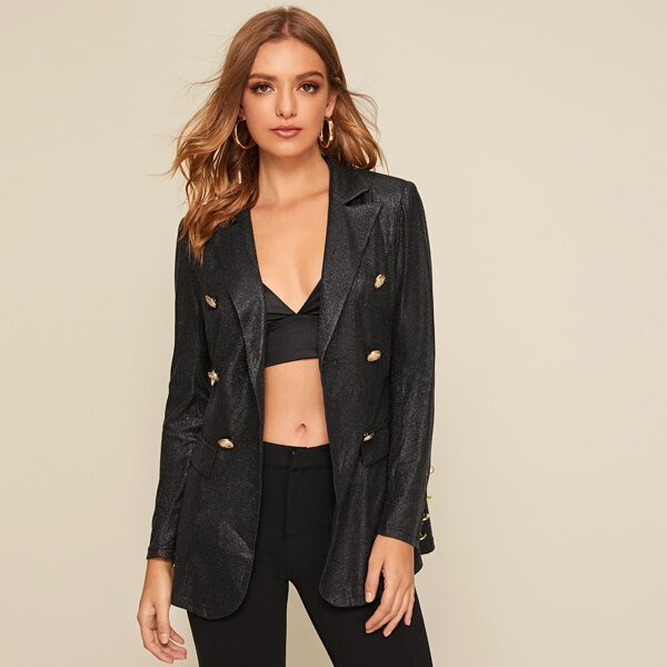 Notched Collar Double Breasted Glitter Blazer, Black