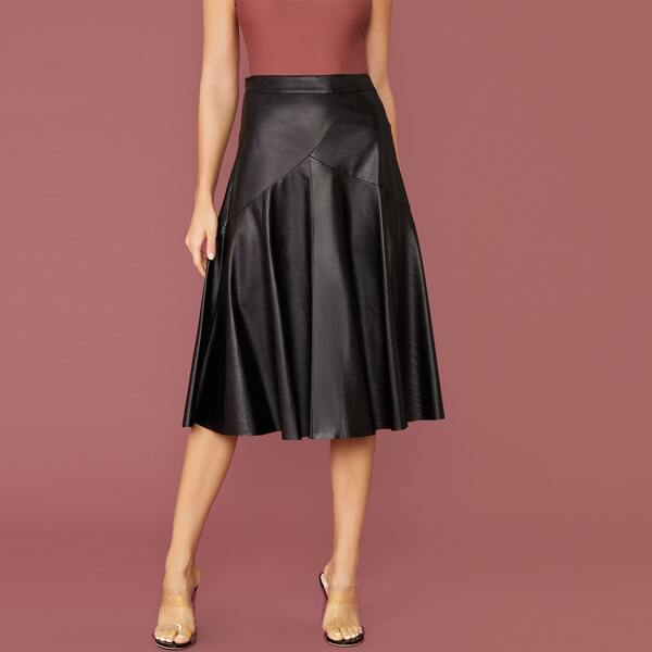 Zip Side Solid Flared Coated Skirt, Black